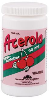 Acerola naturel C-vitamin tabletter, 90 mg., 100 stk.