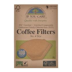 If you care Coffee filters no. 4 ubleget Ø 100stk.