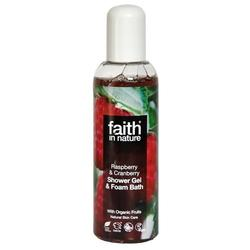 Faith in nature Shower gel hindbær & tranebær, 100 ml.