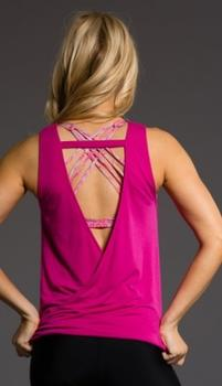 Onzie V Back Tank, Summer Rose, one size