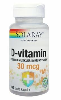 Solaray D-vitamin 30mcg, 100 kap