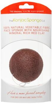 The Konjac Sponge Face, red clay for dry and mature skin, rød, 1stk æske