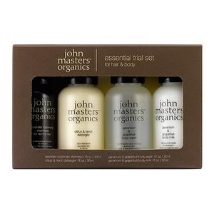 John Masters Essential Trial set for hair og body 4 x 30 ml, Hår- og kropsprodukter i rejsestørrelser.