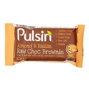 Pulsin Almond&Raisin Raw Choc Brownie, 50 g