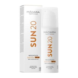 Mádara Weightless Sun Milk SPF 20, 150 ml.