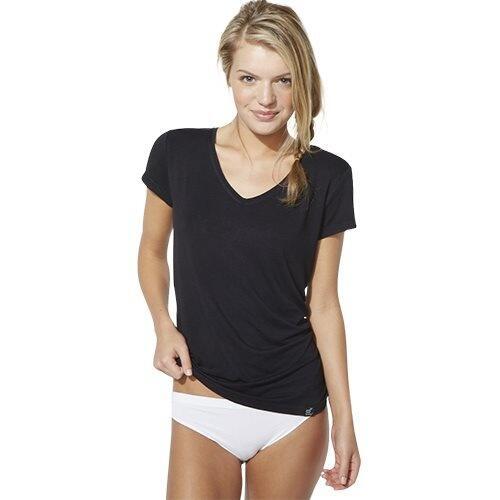 Boody T Shirt dame sort str. M V hals, 1 stk
