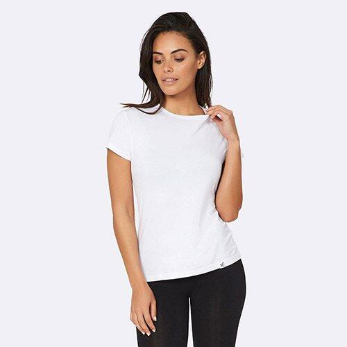 T Shirt Dame hvid str. L rund hals, 1stk