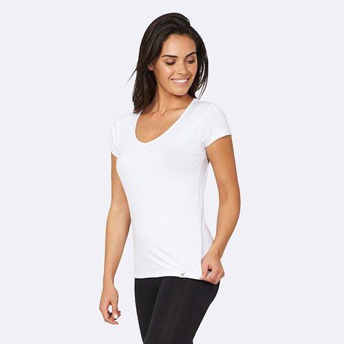 T Shirt Dame hvid str. XL V hals, 1stk