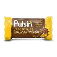 Pulsin Peanut Choc chip raw choc brownie, 50 g