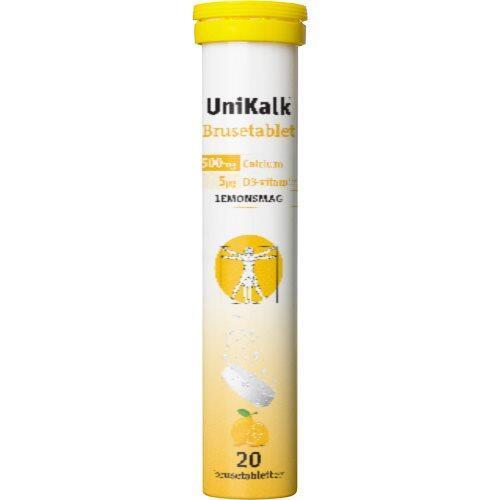 UniKalk Brusetablet m. Lemonsmag, 20tab.