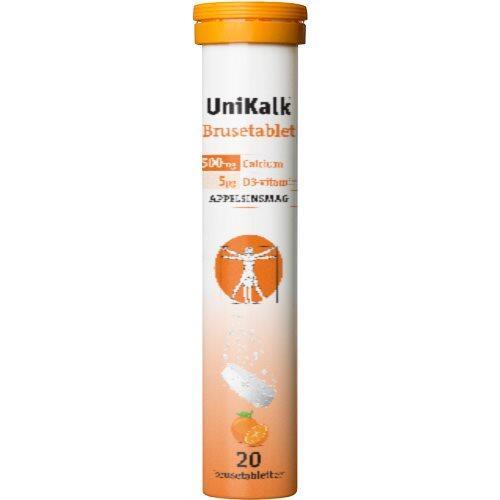 UniKalk brusetablet m. appelsinsmag, 20tab.