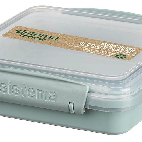 Sistema Renew Madkasse Sandwich box, 450 ml asa. farver mint/blå.
